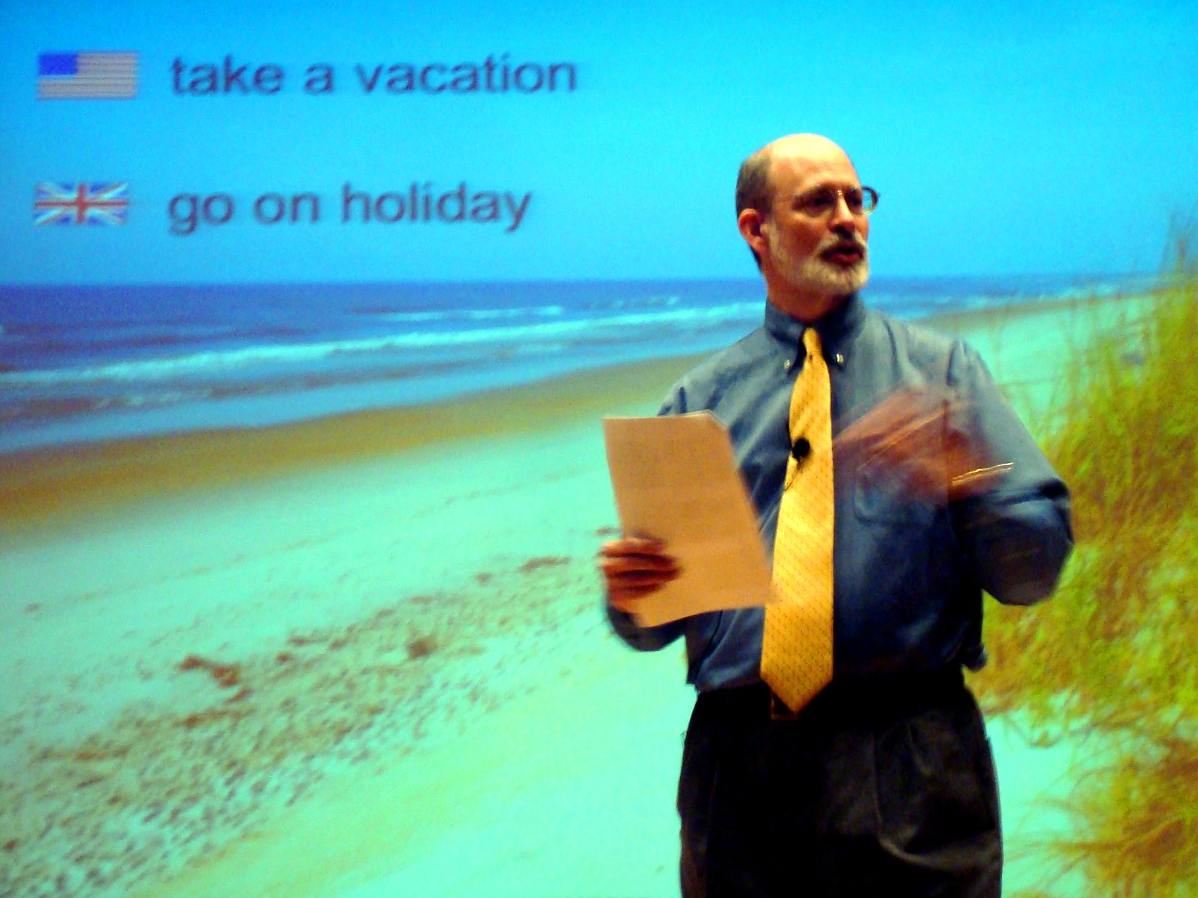 Joe McVeigh delivers a Pecha Kucha presentation at TESOL Arabia