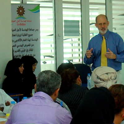 Joe McVeigh works with teachers at the Higher Colleges of Technology in Muscat, Oman